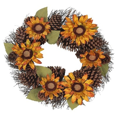 Harvest Pinecone and Sunflower Wreath - 22  - Lloyd & Hannah