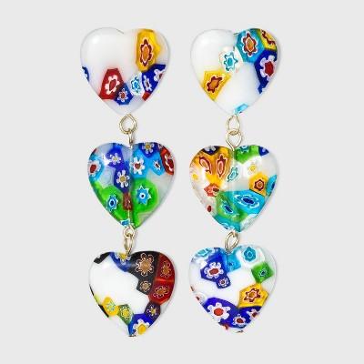 SUGARFIX by BaubleBar Floral Heart Drop Earrings - Blue