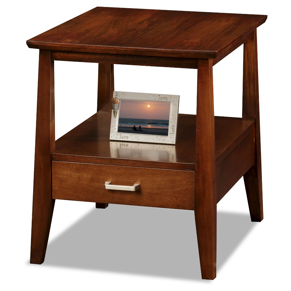 Delton Drawer End Table Sienna Finish - Leick Home, Brown