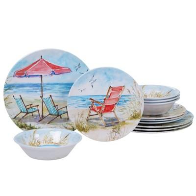 12pc Melamine Ocean View Dinnerware Set - Certified International