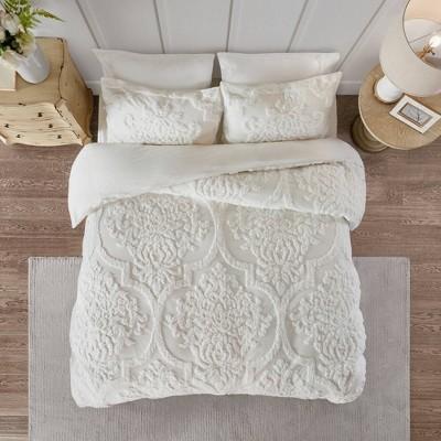 Eugenia Full/Queen 3pc Tufted Chenille Duvet Cover Set White