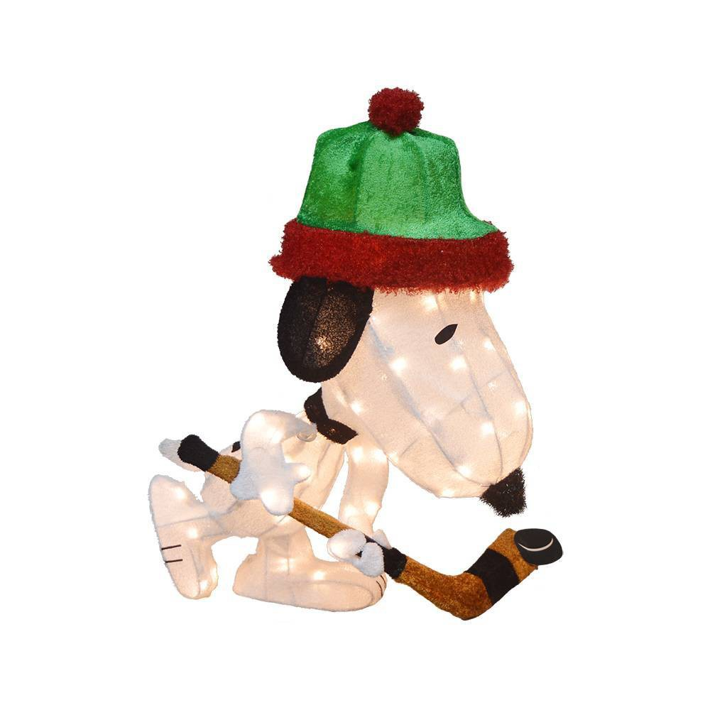 """Image of """"28"""""""" Peanuts LED Pre-Lit Hockey Snoopy 3D Outdoor Decoration"""""""