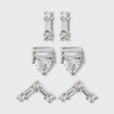 Sterling Silver Cubic Zirconia Bar and Triangle Stud Earring Set - A New Day™ Silver