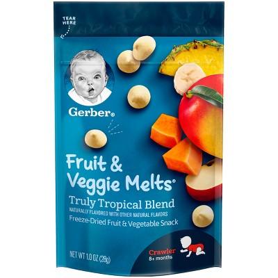 Gerber Fruit & Veggie Melts Freeze-Dried Fruit & Vegetable Snacks Truly Tropical Blend - 1oz