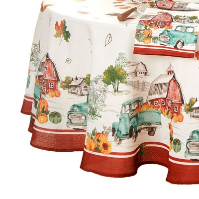 Farm Fresh Pumpkin Truck Fall Tablecloth - Elrene Home Fashions