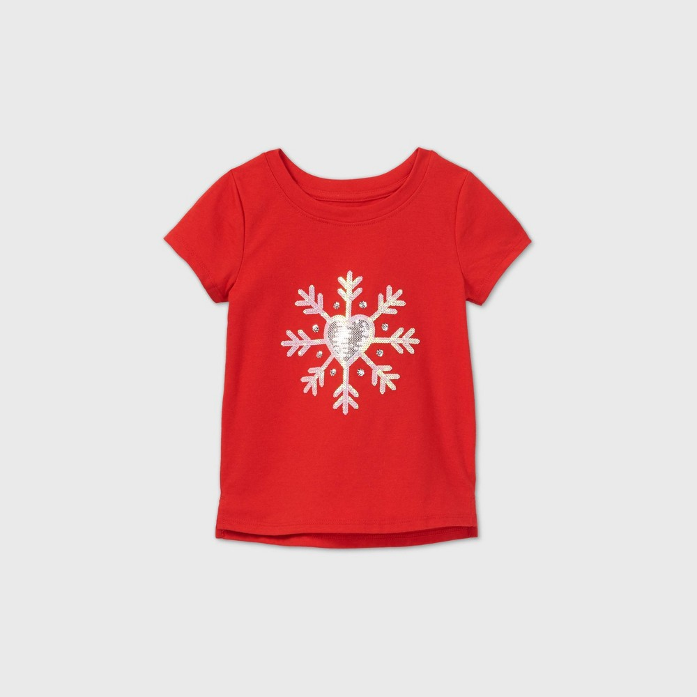 Toddler Girls 39 Sequin Snowflake Short Sleeve T Shirt Cat 38 Jack 8482 Red 18m