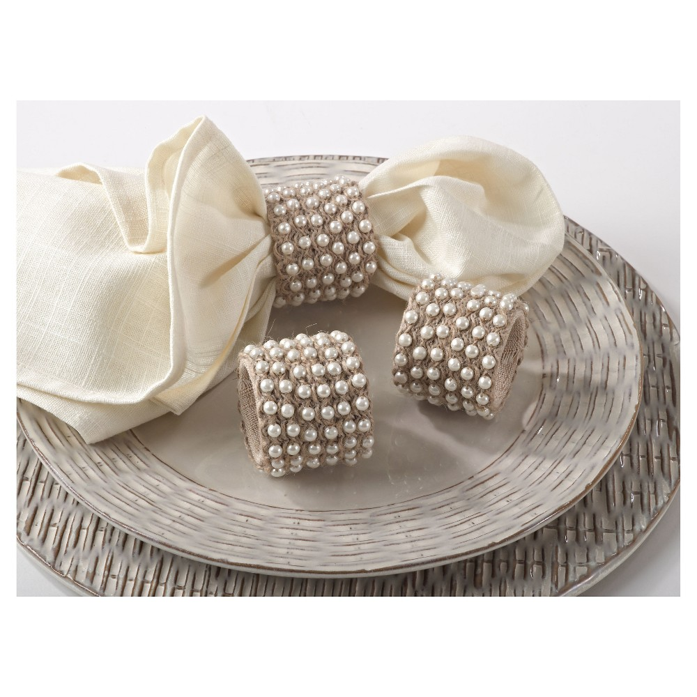 Jute with Pearls Napkins Rings - Natural (Set of 4), Tan