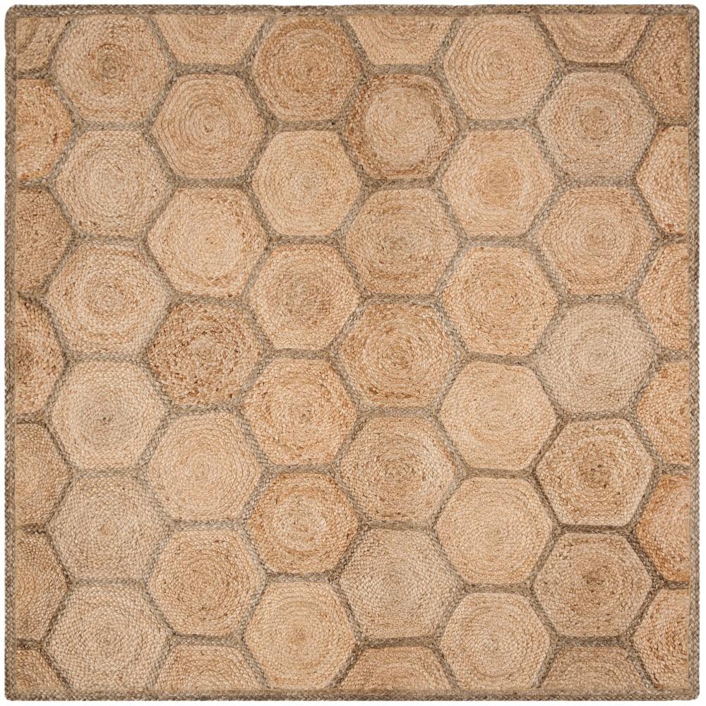 6'X6' Geometric Woven Square Area Rug Natural/Gray - Safavieh, White