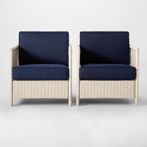 Monroe 2pk Wicker Motion Patio Club Chair - Threshold™ - image 1 of 6