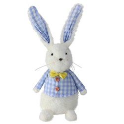 "Northlight 13.5"" Plush Checkered Spring Coat Bunny Rabbit Easter Decoration - White/Blue"