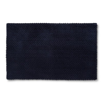 "20""x34"" Low Chenille Memory Foam Bath Rug Navy - Threshold™"