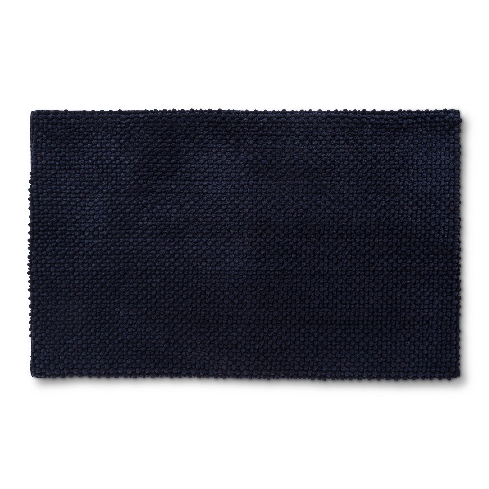 x 34in Low Chenille Memory Foam Bath Rug Xavier Navy