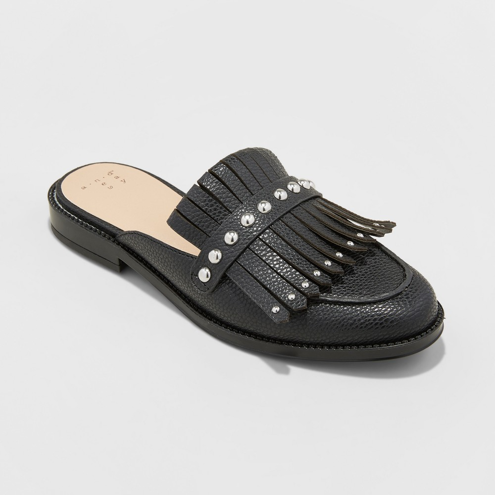 Women's Karoline Backless Loafer Mules - A New Day Black 7.5