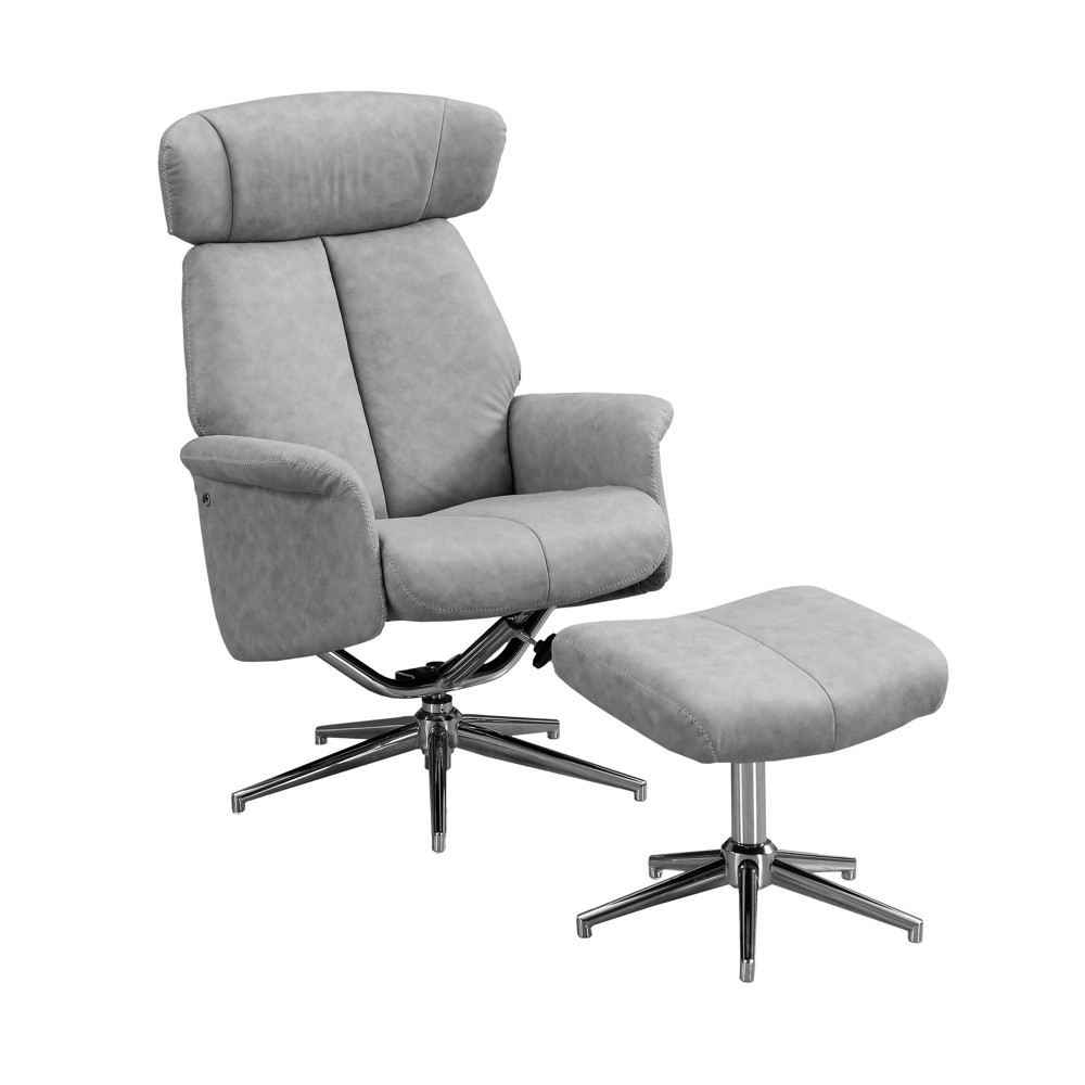 Image of 2pc Recliner Swivel Adjustable Headrest Gray - EveryRoom
