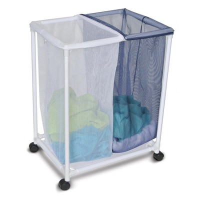 Homz 4540010 6 Load Capacity Double Mesh Sorter Laundry Basket Portable Organizer Hamper with Removable Bags with Wheels, Blue and White