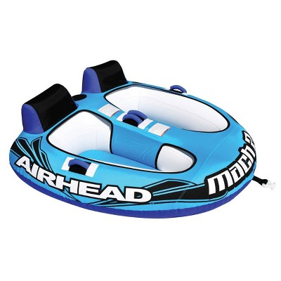 Airhead AHM2-2 Mach 2 Inflatable Two Rider Cockpit Lake Water Boating Towable Tube in Blue with Tow Point, Speed Safety Valve, and Handles