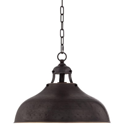 """Franklin Iron Works Dyed Bronze Pendant Light 16"""" Wide Farmhouse Industrial Rustic Hammered Dome Shade Kitchen Island Dining Room"""