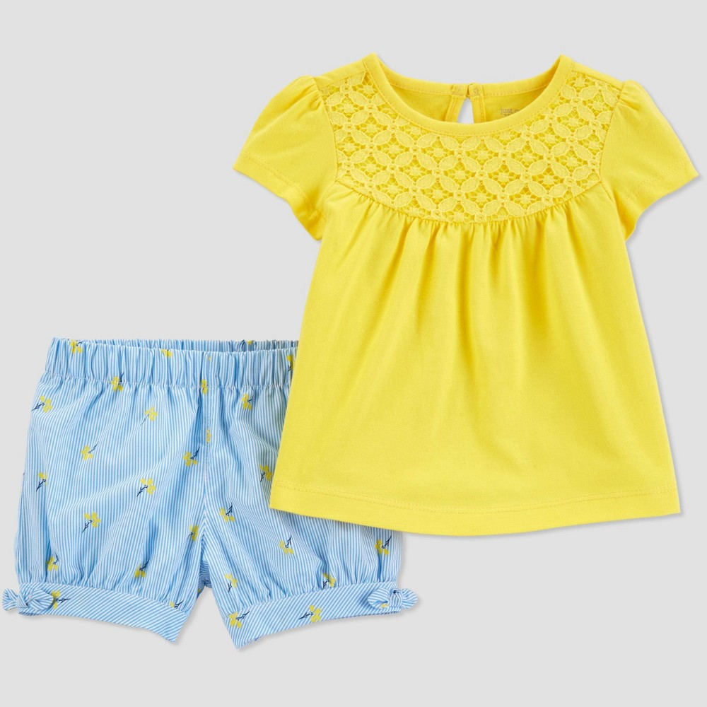 Toddler Girls' 2pc Stripe Floral Set - Just One You made by carter's Yellow/Blue 3T