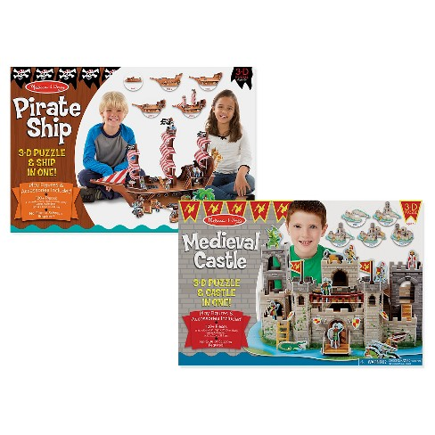 Melissa And Doug Pirate Ship And Medieval Castle 3D Puzzle 200pc - image 1 of 2