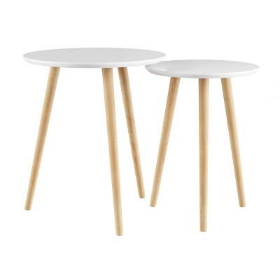 Nesting End Tables with Circular Top White - Yorkshire Home