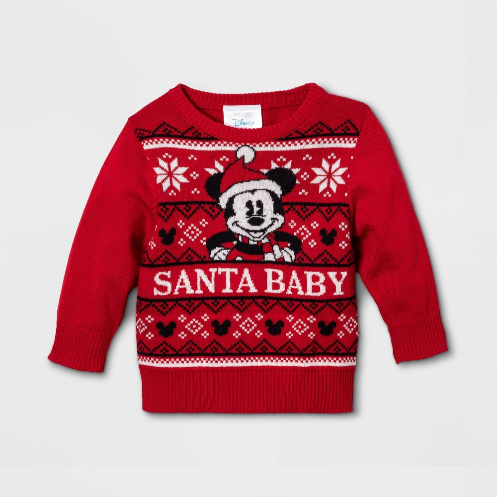 Image of Baby Boys' Disney Mickey Mouse Santa Ugly Sweater - Red 0-3M, Boy's