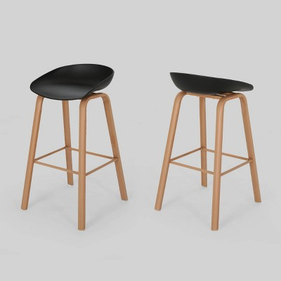 Set of 2 Commodore Modern Barstool Black - Christopher Knight Home