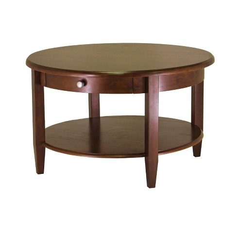 Concord Round Coffee Table With Drawer And Shelf Antique Walnut Winsome Target