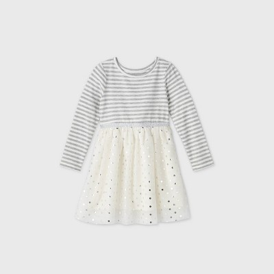 Toddler Girls' Sparkle Tulle Long Sleeve Dress - Cat & Jack™ Cream