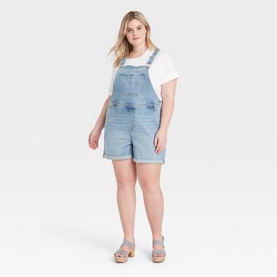 Women's Plus Size Overalls Jean Shorts - Ava & Viv™ Blue