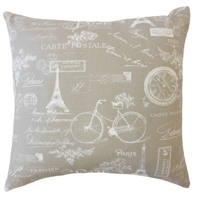 """18""""x18"""" Parisian Square Throw Pillow Beige - The Pillow Collection"""