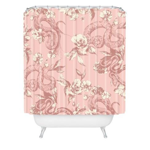 Floral Snake Blush Shower Curtain Pink