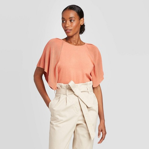 Women's Crewneck Flutter Short Sleeve Pullover Sweater - Prologue™ - image 1 of 3