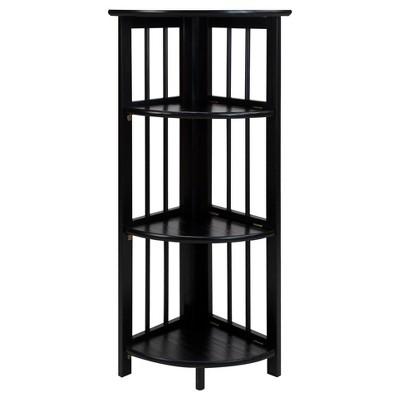 38.75  3-Shelf Corner Folding Bookcase Black - Flora Home