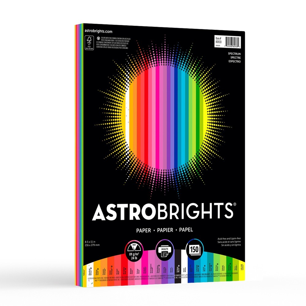 Image of 150ct Letter Printer Paper Multicolor - Astrobrights