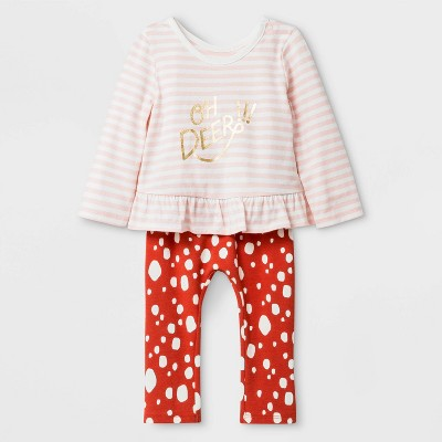 Baby Girls' Long Sleeve Ruffle Top and Bottom Set - Cat & Jack™ Light Pink/Red 0-3M