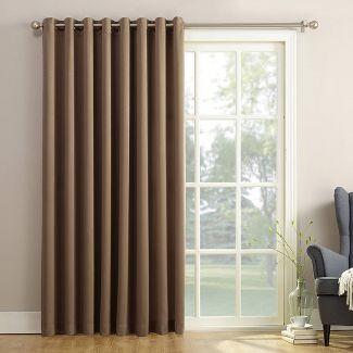 """100""""x84"""" Seymour Extra Wide Energy Efficient Room Darkening Patio Door Curtain Panel Mocha - Sun Zero"""