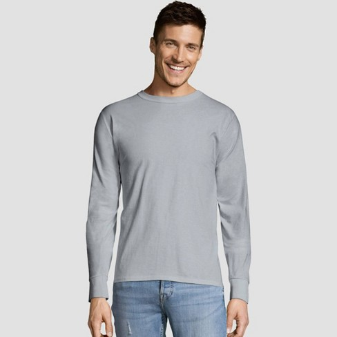 97cd1909c3 Hanes Men's Long Sleeve 4pk Comfort Soft Crew T-Shirt - Light Steel ...