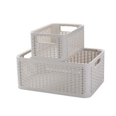 Mind Reader 2-Tier Stackable Storage Containers, Off-White