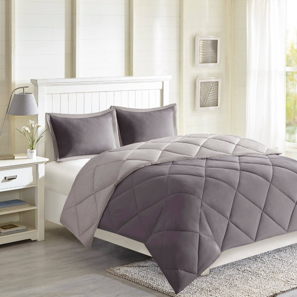 Image of 3pc King Windsor Reversible Down Alternative Comforter Set with 3M Stain Resistance Finishing Charcoal