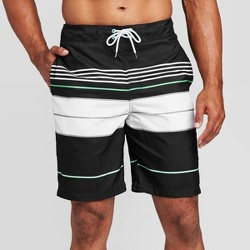 "Men's 9"" Striped Engineered Swim Shorts - Goodfellow & Co™ Black"