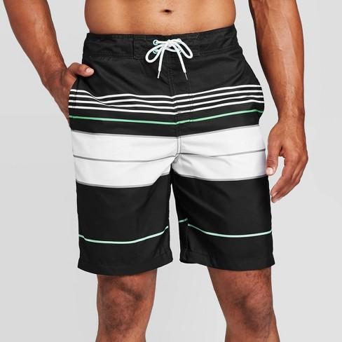 "Men's 9"" Engineered Stripe Swim Trunks  - Goodfellow & Co™ Black - image 1 of 3"
