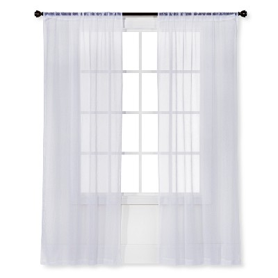 "84""x40"" Crinkle Sheer Curtain Panel White - Room Essentials™"