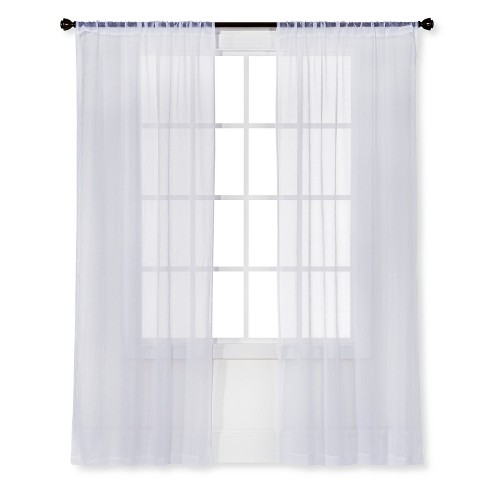 Snow White Sheer Curtain Panel Crinkle Room Essentials