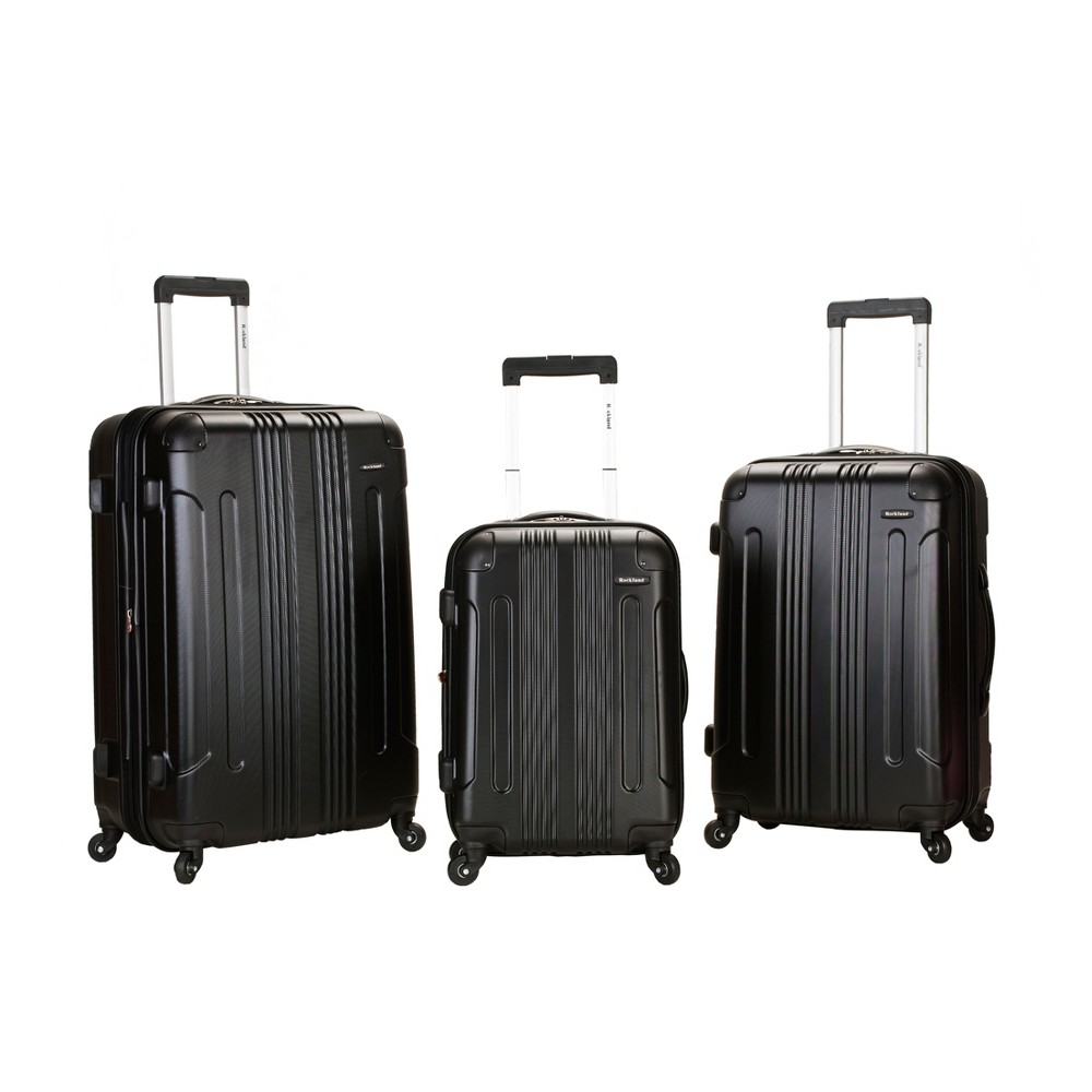 Rockland Sonic 3pc Expandable Abs Spinner Luggage Set - Black
