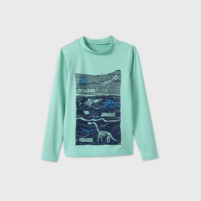 Boys' Long Sleeve Dino Graphic Rash Guard Swim Shirt - Cat & Jack™ Aqua