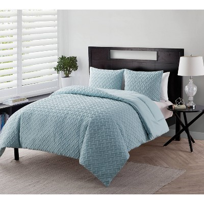 Twin XL Nia Embossed Comforter Set Blue - VCNY HOME