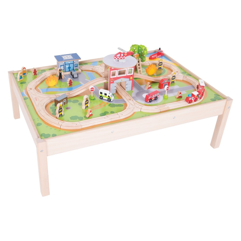 Bigjigs Rail Fire Station Wooden Railway Train Set and Table