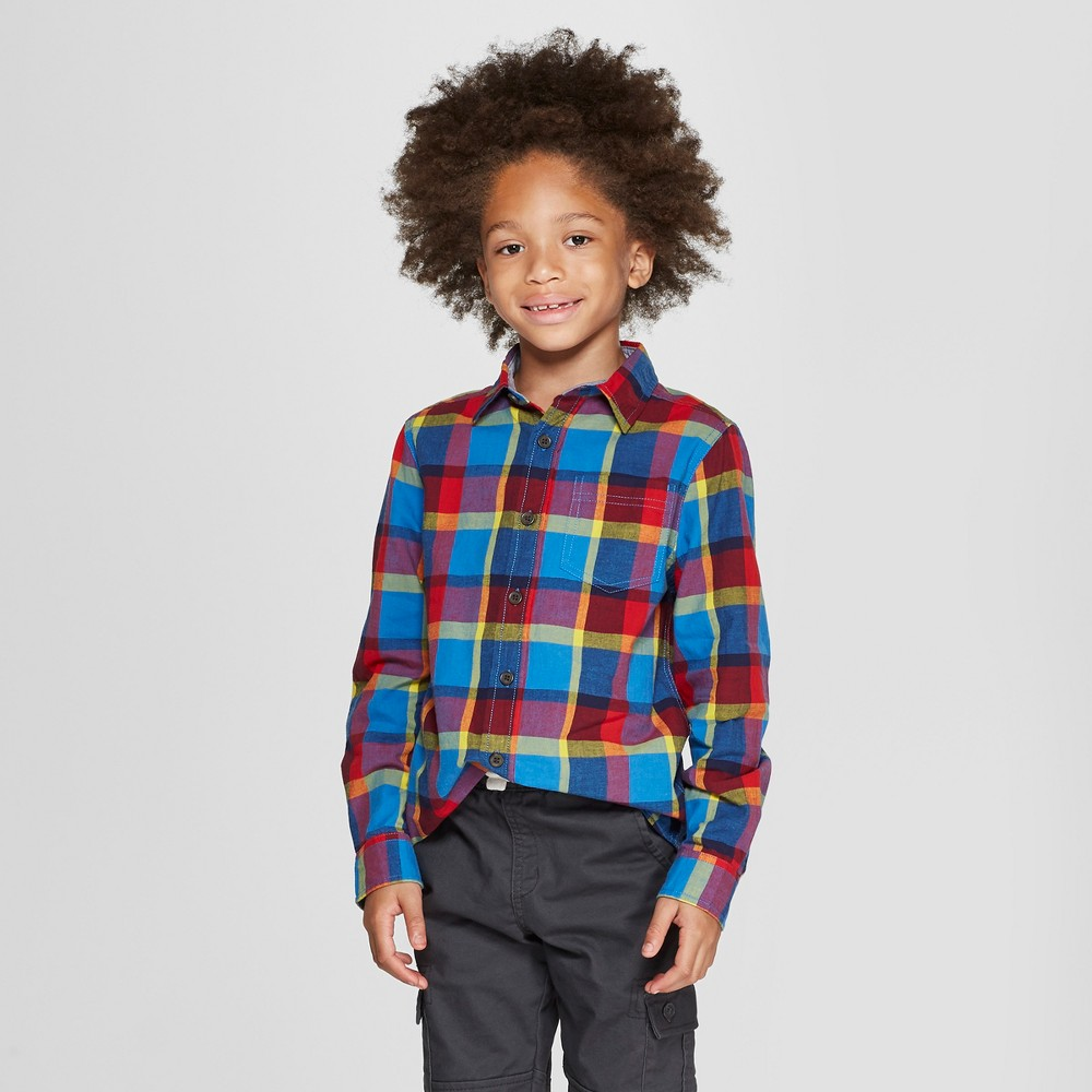 Boys' Plaid Long Sleeve Button-Down Shirt - Cat & Jack Blue/Red XS