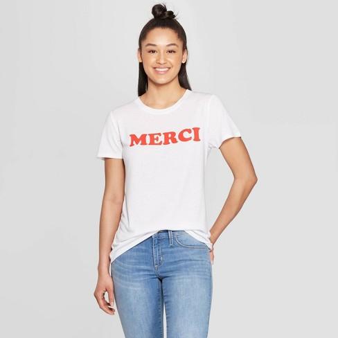 309a3f5fb9 Women's Short Sleeve Merci Graphic T-Shirt - Modern Lux (Juniors') White