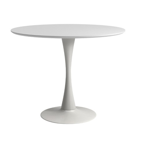 Cameron Modern 36 In Round Dining Table With Tulip Style Base White Aeon